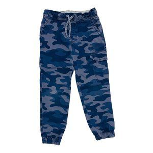 Blue Camo Print Pull On Jogger Pants